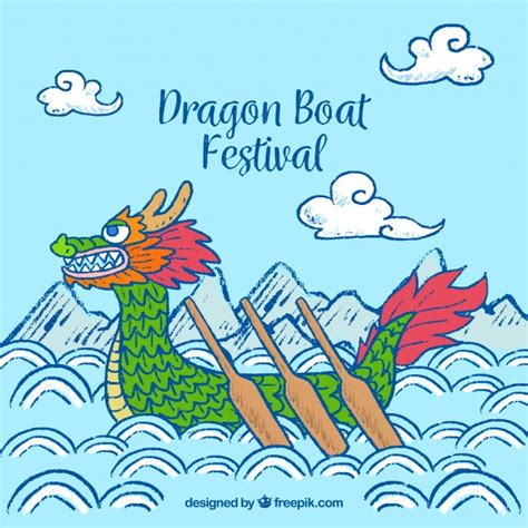dragon boat drawing hand drawn dragon boat festival background vector free