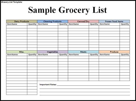 grocery list template word grocery list template