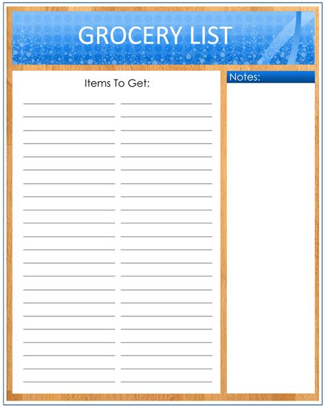 free printable grocery list paper printable grocery list