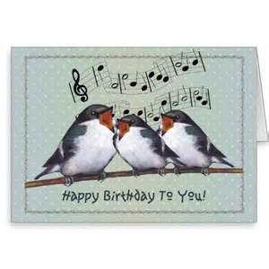 happy birthday cards that sing happy birthday three birds singing staff greeting