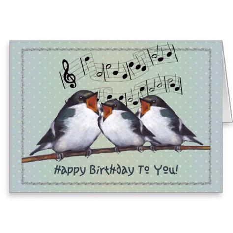 happy birthday bird images happy birthday three birds singing staff greeting