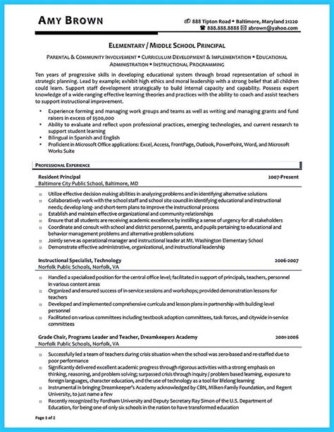 awesome an effective sle of assistant principal resume