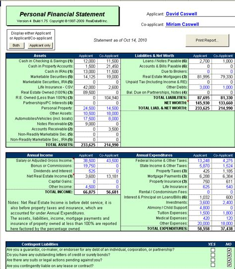 Sba Personal Financial Statement Excel Template Small Business Administration Personal Microsoft Excel Personal Financial Statement Template