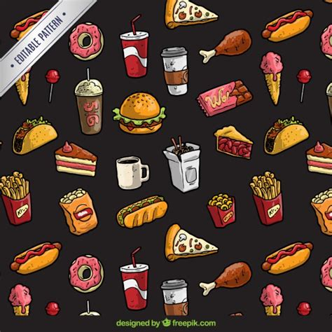 1950s Kitchen Design by Fast Food Pattern Vector Free Download