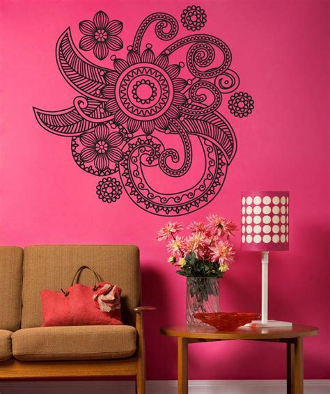 henna design wall decals vinyl wall decal sticker floral henna os dc706