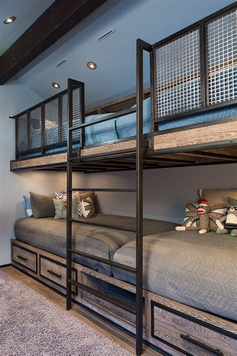 Chinese Bedroom Decor built in bunk beds for a farmhouse bedroom with a ceiling