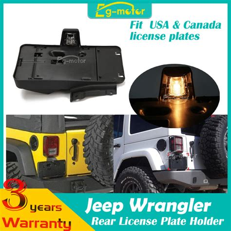 Jeep Jk License Plate Holder Rear License Plate Bracket Holder With Light Fit For Jeep