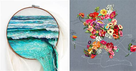 embroidered landscapes  plants  ana teresa barboza