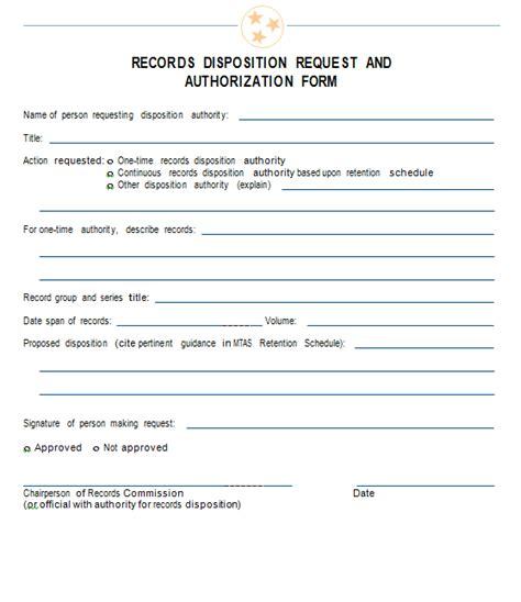 records disposition request  authorization form mtas