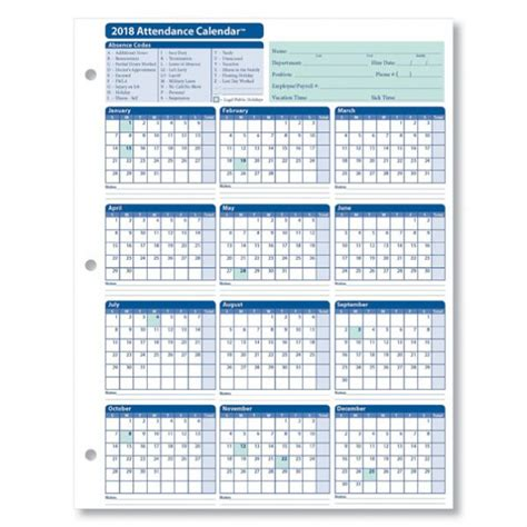 Daily Monthly Yearly Employee Attendance Sheet 2018 Calendar For Attendance Tracking Calendar Template 2018