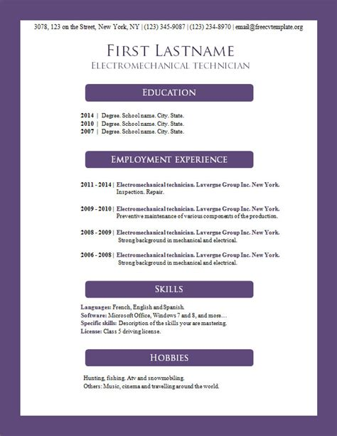 cv resume template microsoft word free cv templates 156 to 162 free cv template dot org