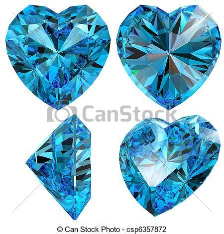 stock foto van blauwe hart diamant knippen edelsteen