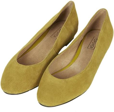 topshop mello mini wedge court shoes in yellow mustard