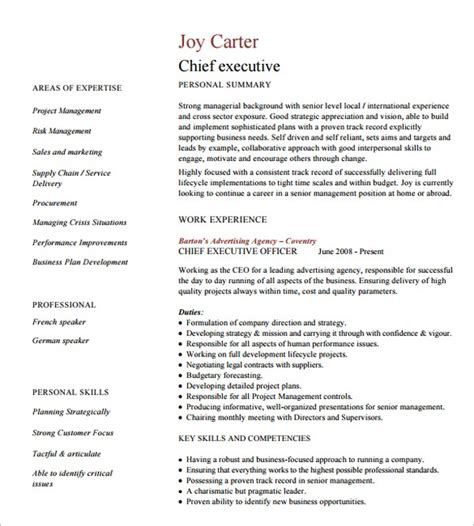 15 executive resume template free pdf doc sle