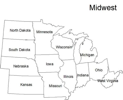 map of midwest states free coloring pages of midwest region