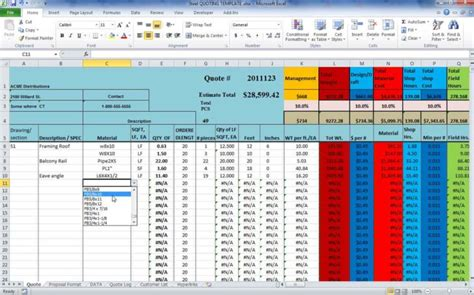 Steel Takeoff Spreadsheet Rimouskois Job Resumes Structural Steel Estimating Template Free