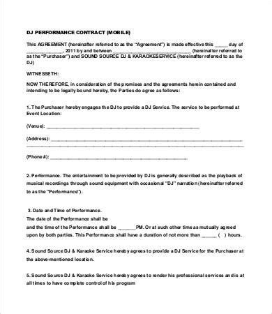 Mobile Dj Contract Template dj contract 16 free word pdf documents free