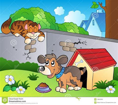 backyard cartoon backyard with cartoon cat and dog stock vector illustration of collar domestic