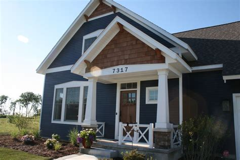 house craftsman style porch hardie board painted sherwin williams quot naval quot exterior house