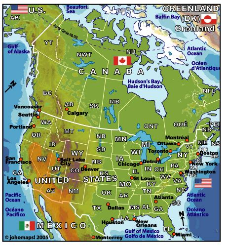 map us and canada cities map of us and canada with cities
