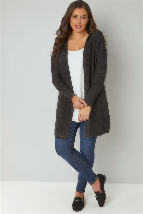 Hooded Cardigan grey hooded cardigan with pockets plus size 16 to 36