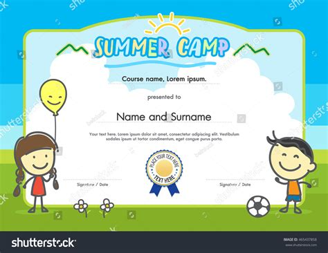 summer c certificate template summer c certificate document template stock