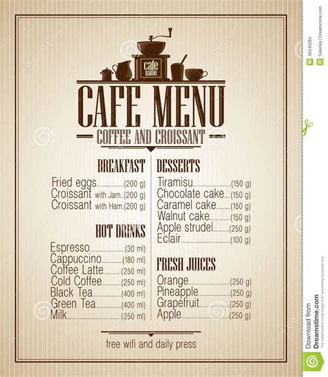 cafe menu list with dishes name retro design stock