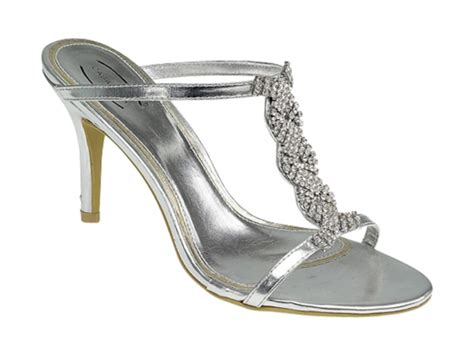 silver shoes silver evening shoe with diamante ll9471