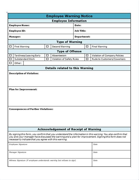 employee write up form template free images