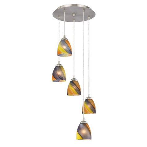 Multi Shade Pendant Light Multi Light Pendant Light With Five Glass Bell Shades Ebay