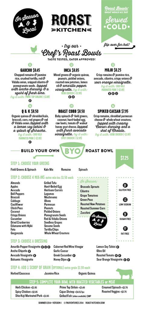 Roast Kitchen Menu by Of The Menu Roast Kitchen