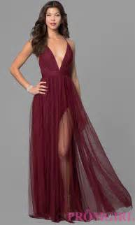 prom dress with deep v neckline promgirl