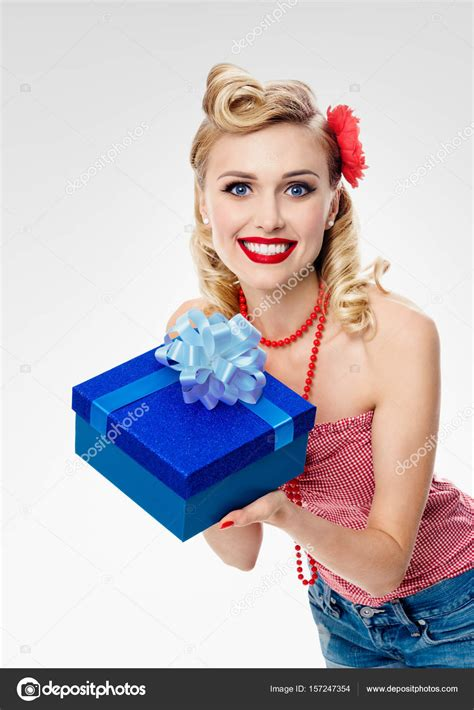 pin up in pin up style clothing with gift box stock photo