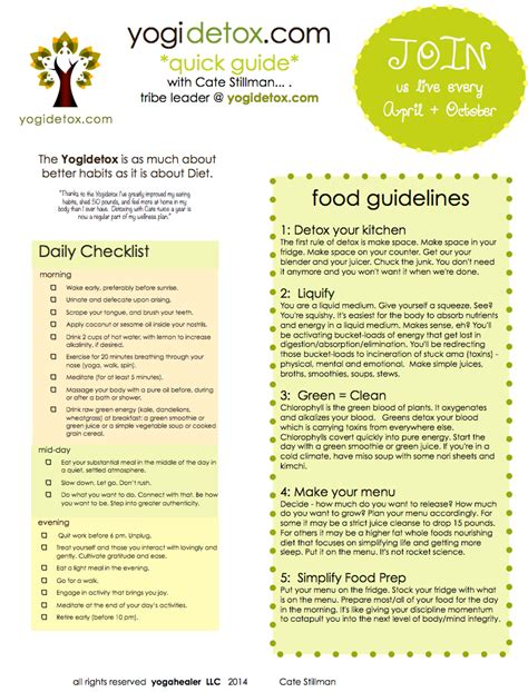 Criteria For Detox detox cheatsheet daily checklist food guidelines