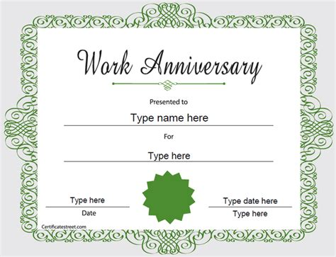 special certificates happy work anniversary