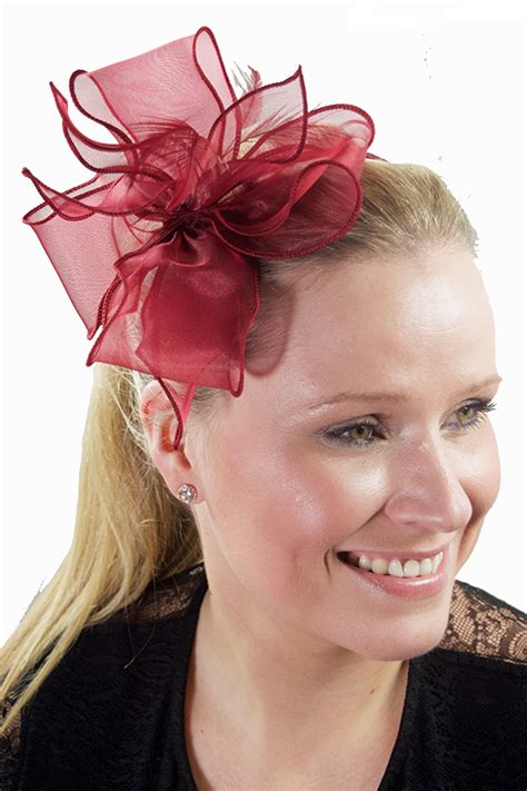 Chiffon Bow Hair Band wine chiffon bow feather hairband fascinator