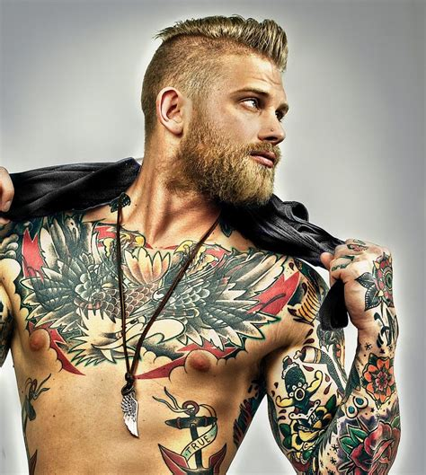 tattoo beard josh mario blond beard undercut tattoos tattooed