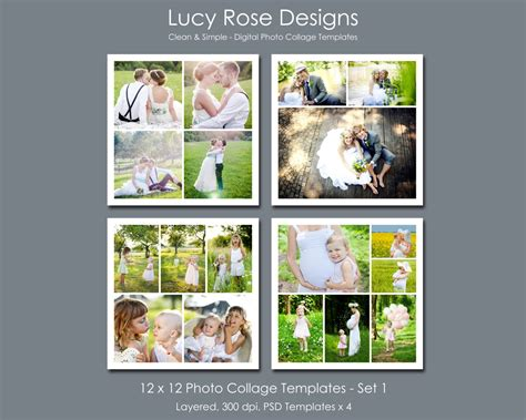 12 photo collage template 12 x 12 photo collage templates set 1