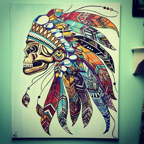 mural tattoo designs indian skull headdress aztec feathers canvas