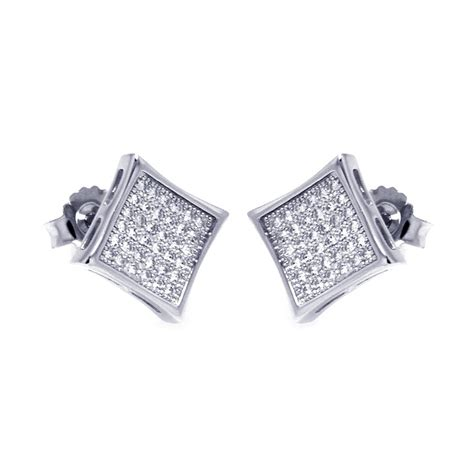 Sterling Silver Square Earrings sterling silver micro pave square stud earrings sace00043