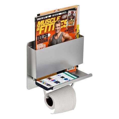adirhome single post toilet paper holder  shelf  magazine holder  stainless steel