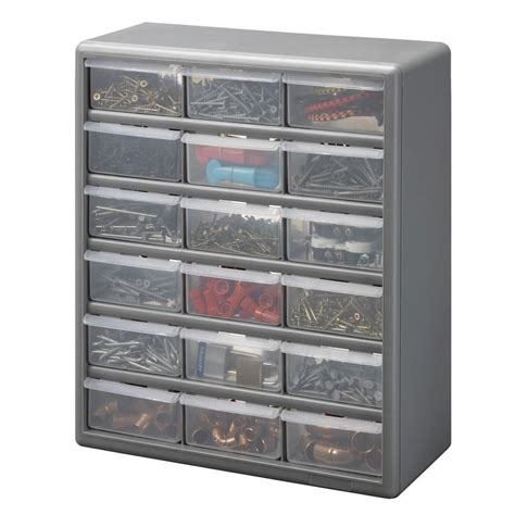 stack on 18 compartment gray storage cabinet for small