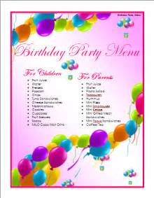 Birthday Template Word by Birthday Menu Template Microsoft Word Templates