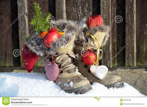santa ckaus with snow decoration santa claus boots in the snow stock photo image 28103130