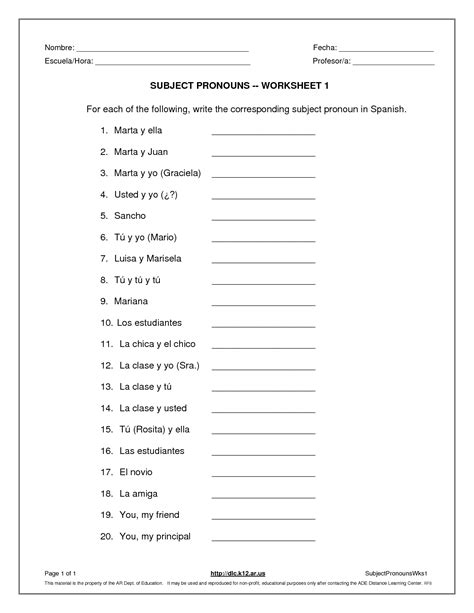Subject Pronouns Worksheet by La Escuela De Ingles De Subject Pronouns Worksheet
