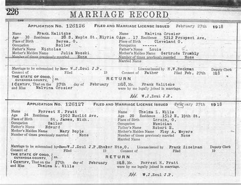 Riverside County Marriage License Records Usgenweb Archives Cuyahoga County Ohio