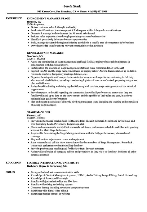 Stage Manager Resume stage manager resume template resume ideas