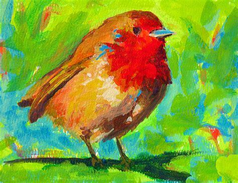 acrylic painting birds birdie bird robin painting by awapara