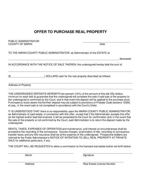 real estate offer template offer to purchase real estate template 2 legalforms org