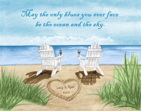 Hippie Home Decor by Ocean Beach Chair Fine Art Print With Personalized Names
